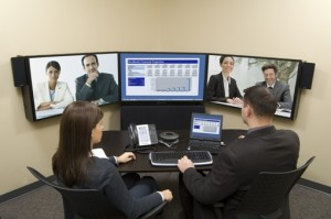Mitel telepresence pictured for audio, video and web collaboration