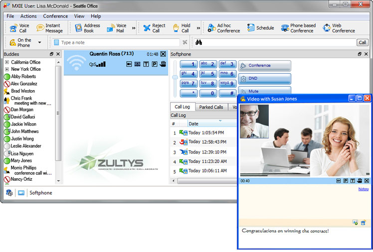 Zultys hosted MXIE unified cloud communications